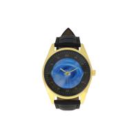 Custom Men's Golden Leather Strap Watch Model210