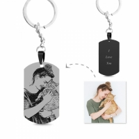 Engraved Black Titanium Steel Photo Tag Keychain