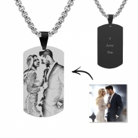 Engraved Black Titanium Steel Photo Tag Necklace