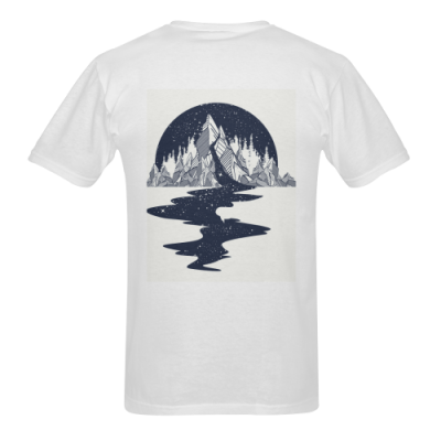 Men's Heavy Cotton T-Shirt/Large (White-Two Side Printing)