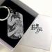 Engraved Black Titanium Steel Photo Tag Keychain